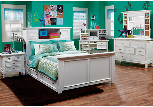 Charmant Belmar White 6 Pc Full Bookcase Bedroom_525x366 3462697P
