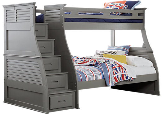 Belmar Gray 4 Pc Twin Full Step Storage Bunk Bed