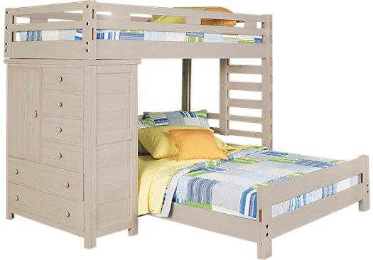 Creekside Stone Wash Twin/Full Student Loft Bed with Chest - Loft/Chest