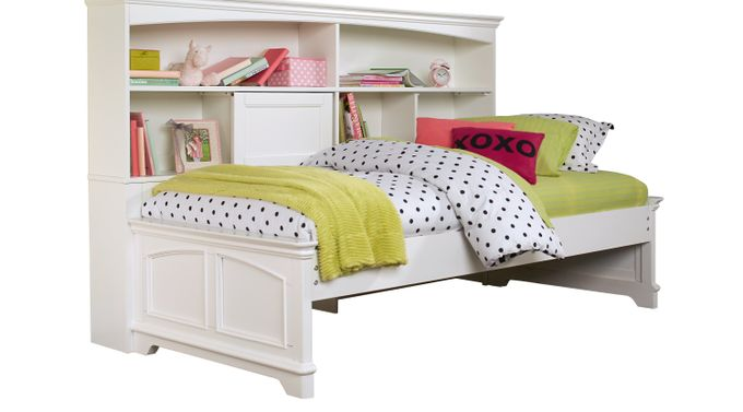 Oberon White 3 Pc Full Bookcase Daybed