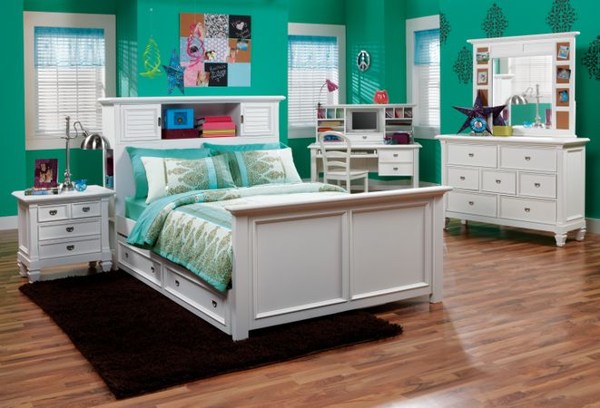 Belmar White 5 Pc Twin Bookcase Bedroom
