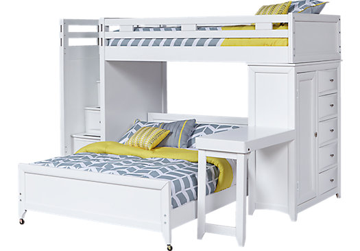 Ivy League White Twin/Twin Step Loft Bunk with Chest and Desk - Loft/Chest/Desk