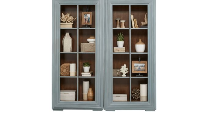 Fairbrook Hydra (Sky (light blue)  blue)  2 Pc Bookcase Set - Transitional