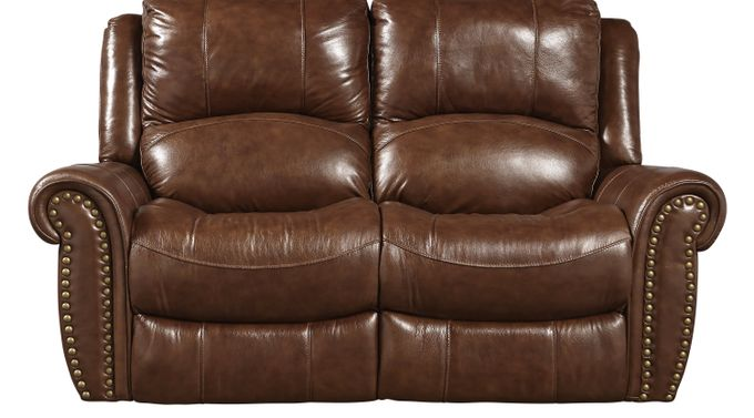 Abruzzo Brown Leather Power Reclining Loveseat - Traditional,