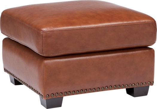 balencia light brown leather ottoman