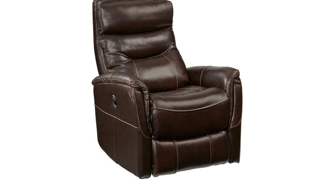 Bello Brown Leather Power Swivel Glider Recliner - Reclining - Contemporary,