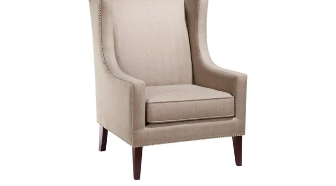 Addington Taupe (grayish brown)  Herringbone Accent Chair - Upholstered - Contemporary, Polyester