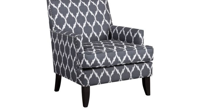 Aubinwood Gray Pattern Accent Chair - Upholstered - Contemporary, Polyester