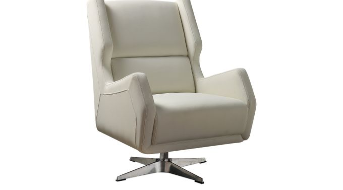 Bertino White Accent Swivel Chair - Contemporary, Polyurethane