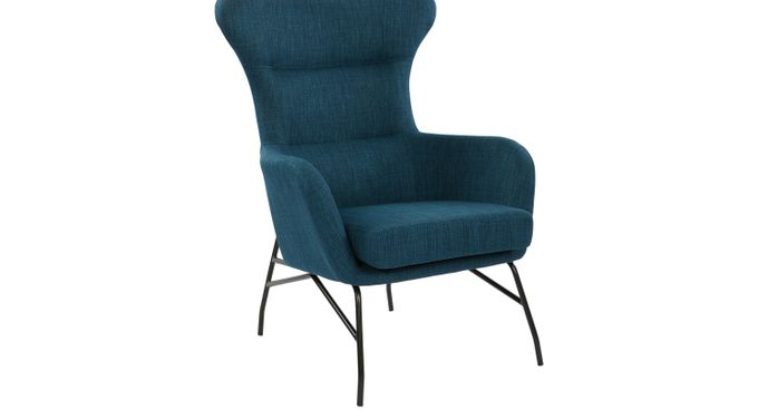 Elati Blue Accent Chair - Upholstered - Contemporary, Polyester
