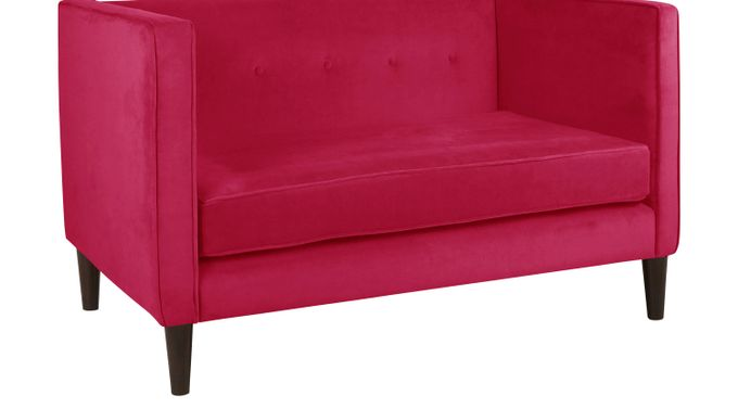 Vallie Raspberry (deep pink)  Settee - Contemporary, Polyester