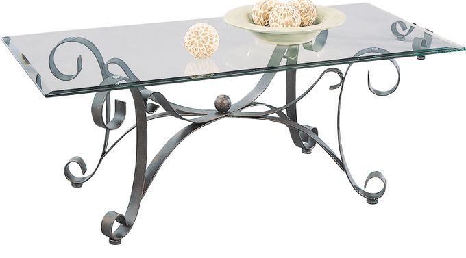 Cooper Metal Cocktail Table - Glass Top - Contemporary