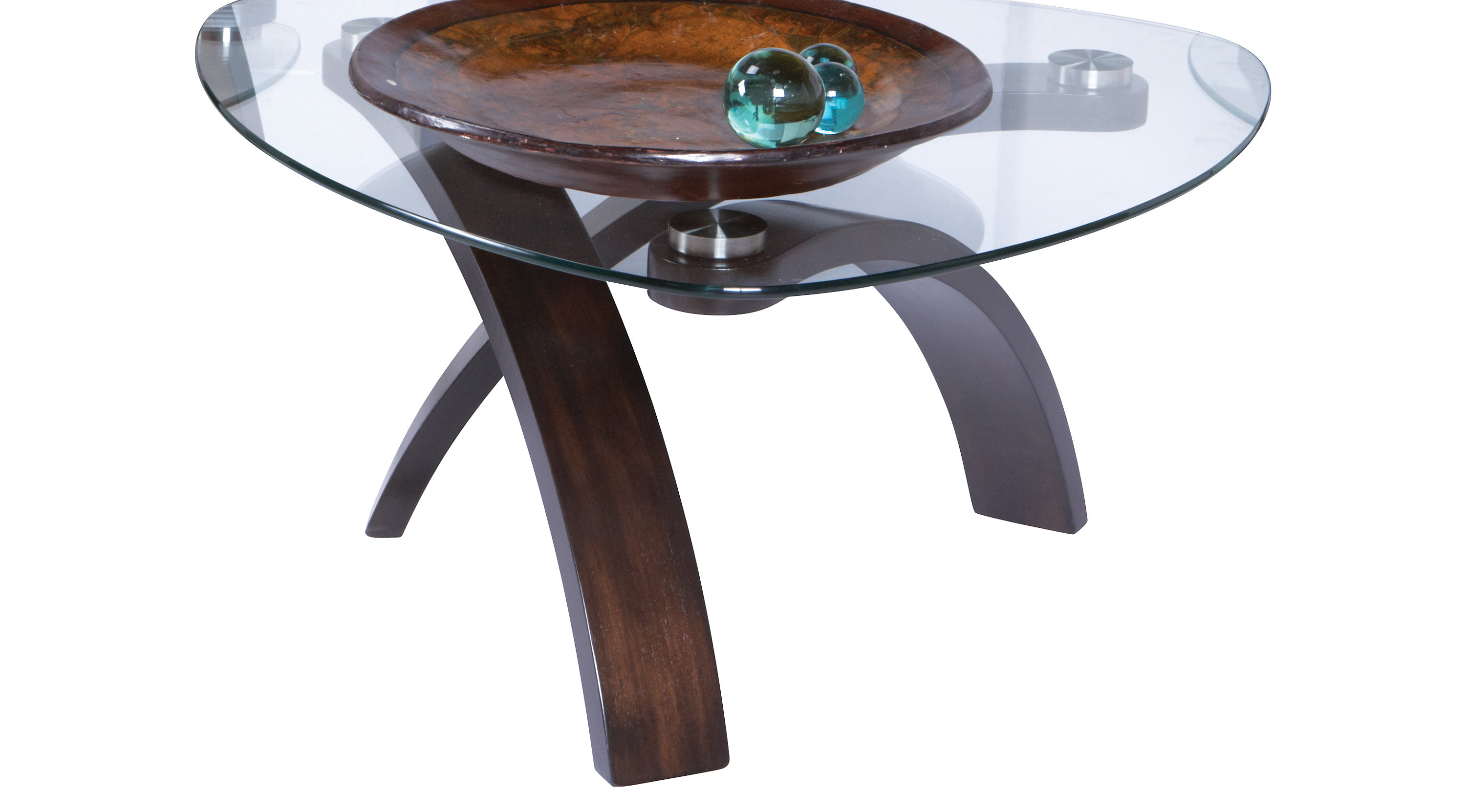 Grant City Merlot Reddish Brown Cocktail Table Glass Top Contemporary