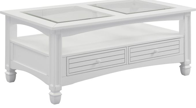 Maisie White Cocktail Table - Glass Top