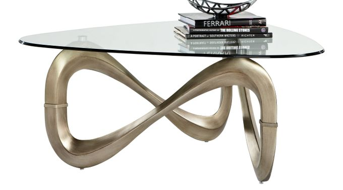 Modern Art Chrome Cocktail Table - Glass Top - Contemporary