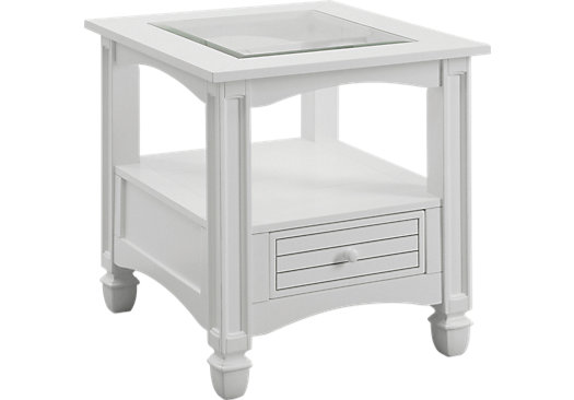 Maisie white end table glass top for White end tables for living room