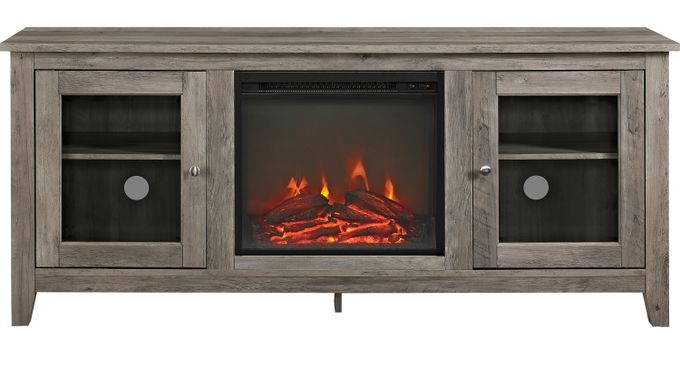 Blaize Gray 58 in. Console with Electric Fireplace