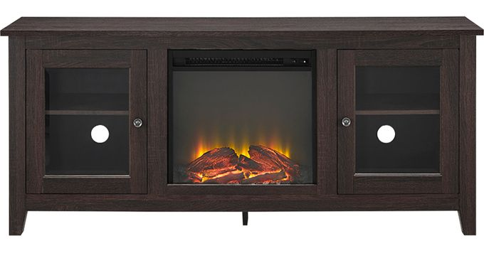 Blaize Espresso (dark brown)  58 in. Console with Electric Fireplace
