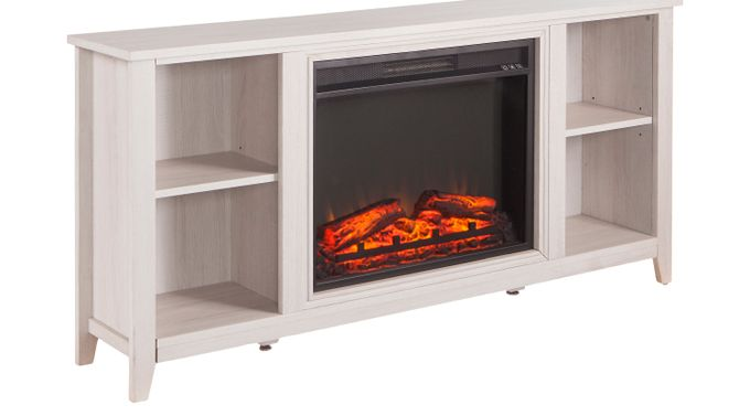 Mapleloft White 56 in. Console with Electric Fireplace - Contemporary