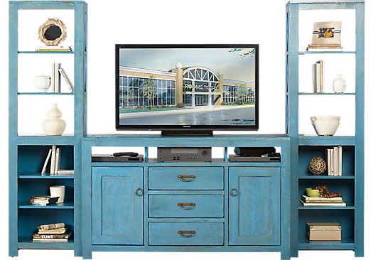 South creek blue 3 pc wall unit casual - Wall units for living room mumbai ...