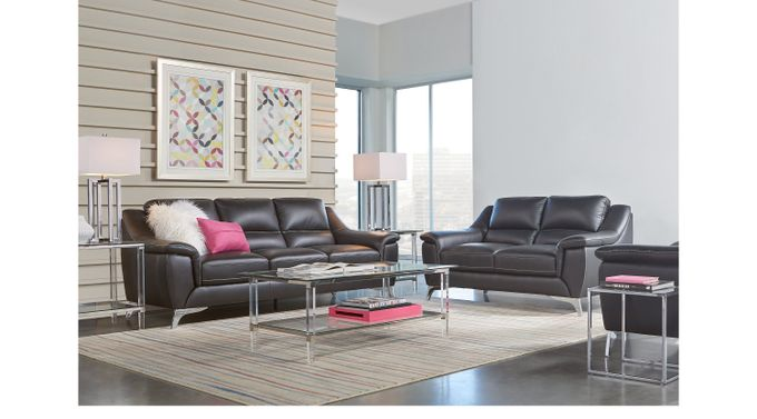 Calavino Black Leather 5 Pc Living Room - Classic - Contemporary,