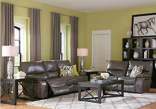 Gianna Gray Leather 2 Pc Living Room - Classic - Contemporary,