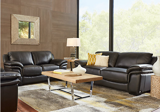 2 149 99 Grand Palazzo Black Leather 7 Pc Living Room Classic Contemporary