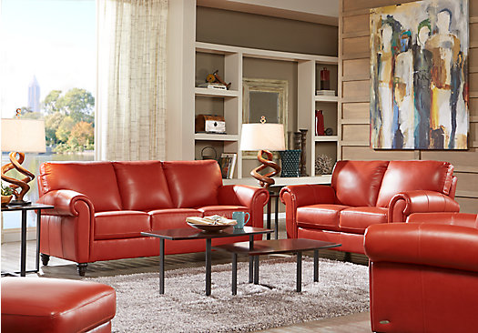 $2,299.99 - Lusso Papaya (orange / red) Leather 3 Pc Living Room ...
