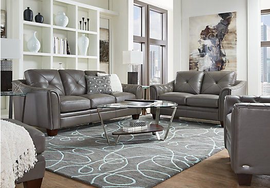 Cindy Crawford Home Marcella Gray Leather 2 Pc Living Room - 2-Piece Leather Living Room Sets: Sectionals, Sofas, Etc.
