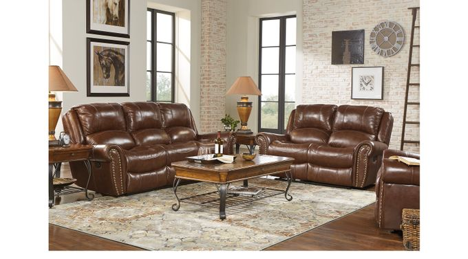Abruzzo Brown 3 Pc Reclining Leather Living Room - Classic - Traditional,