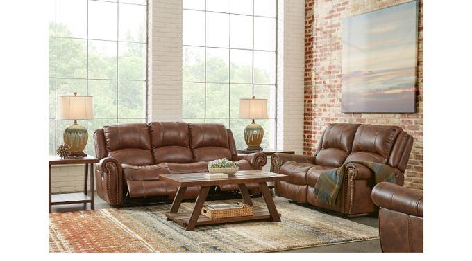 Alden Point Brown 3 Pc Reclining Living Room - Traditional, Polyester