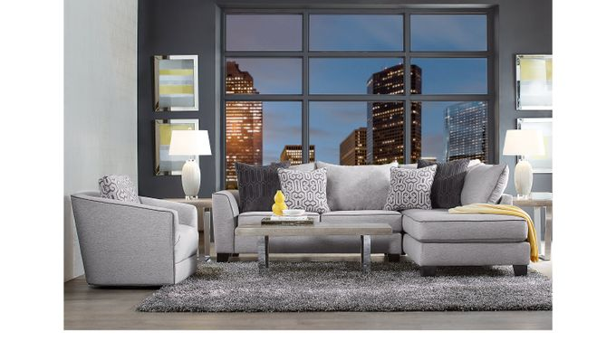 Ash (gray) ford Landing Gray 6 Pc Sectional Living Room - Contemporary, Polyester