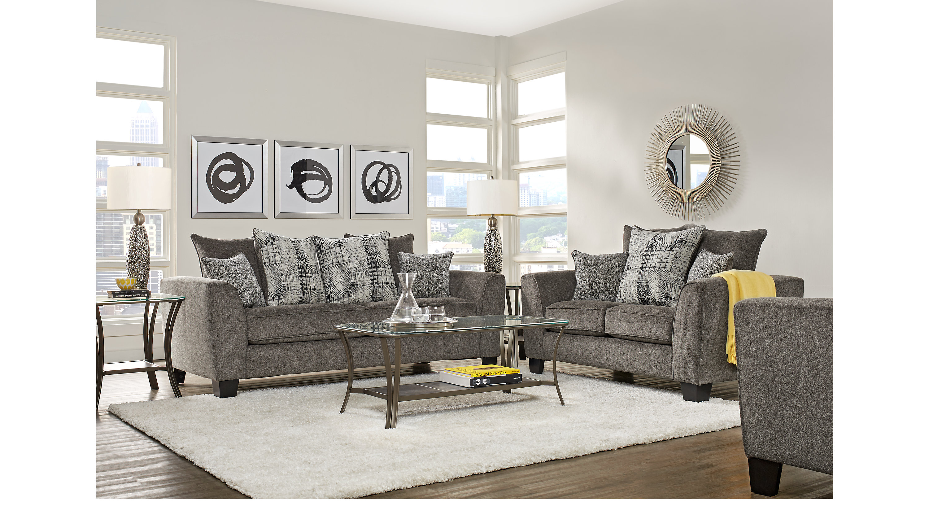 999 99 Austwell Gray 5 Pc Living Room Classic Contemporary