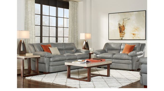 Aventino Gray Leather 2 Pc Living Room - Classic - Transitional,