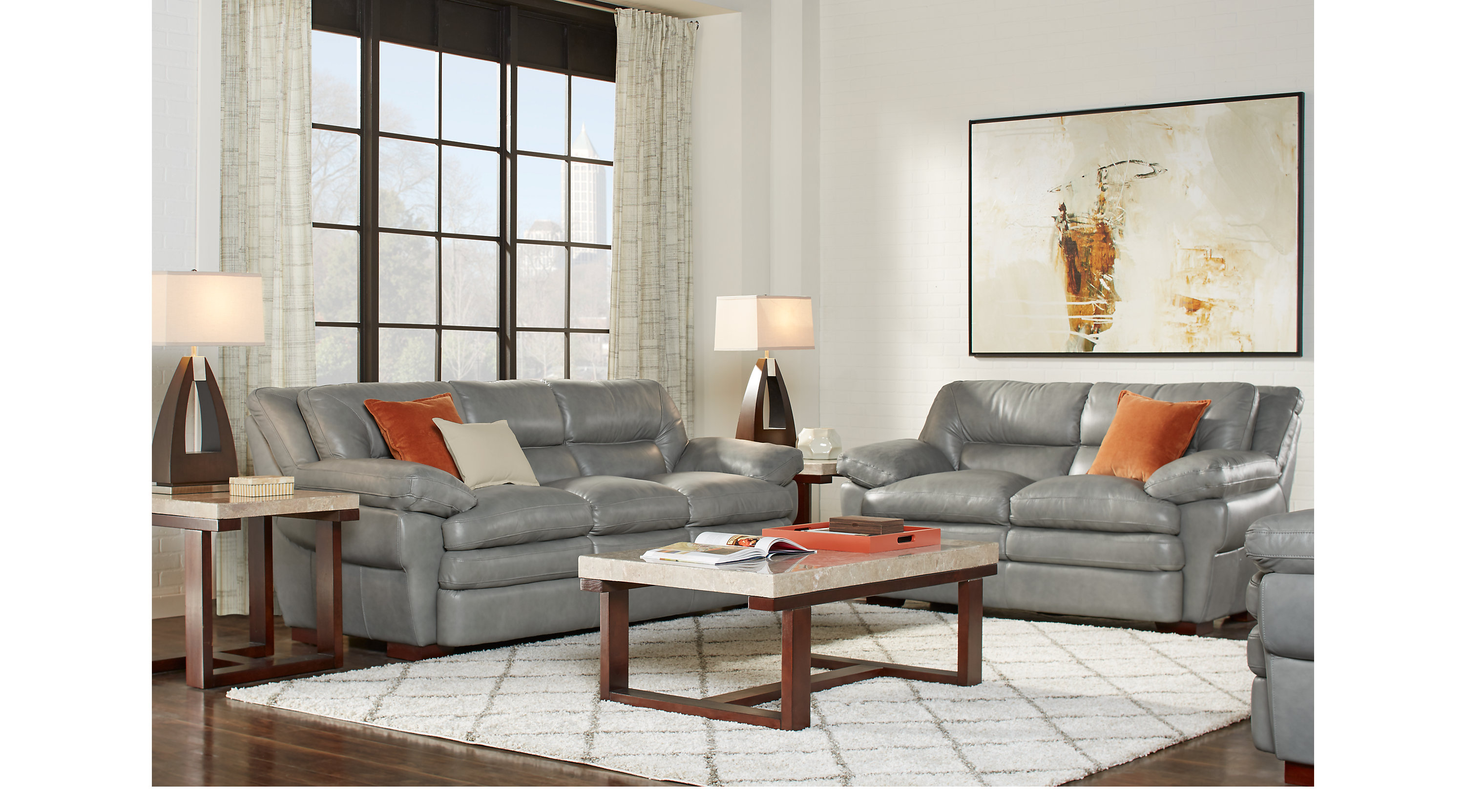 Aventino gray leather 5 pc living room