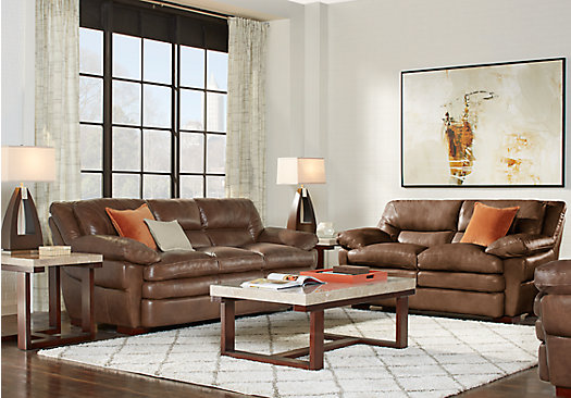 Aventino Tobacco Leather 2 Pc Living Room Part 63