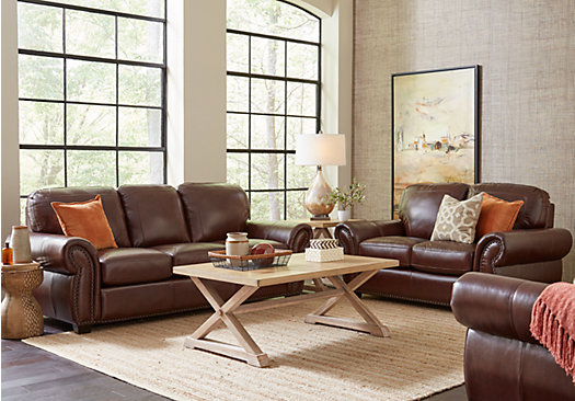 Captivating Balencia Dark Brown Leather 2 Pc Living Room