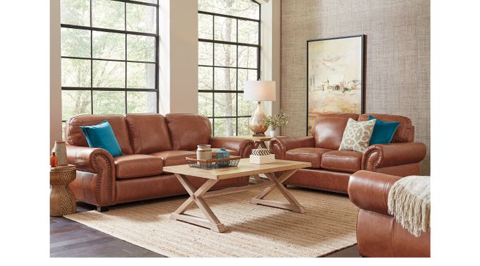 Balencia Light Brown Leather 5 Pc Living Room - Classic - Traditional,