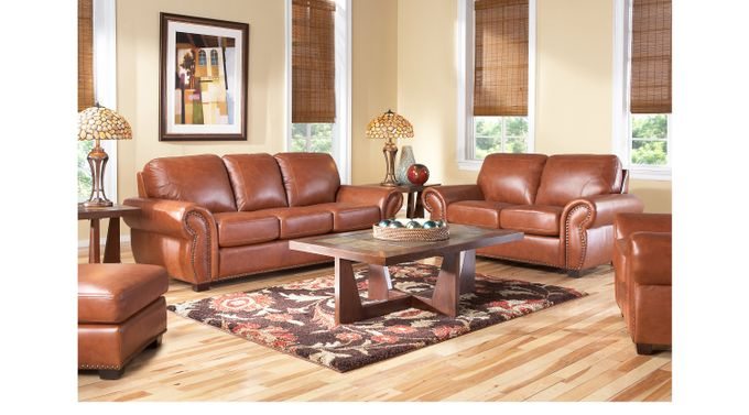 Balencia Light Brown Leather 7 Pc Living Room - Classic - Traditional,