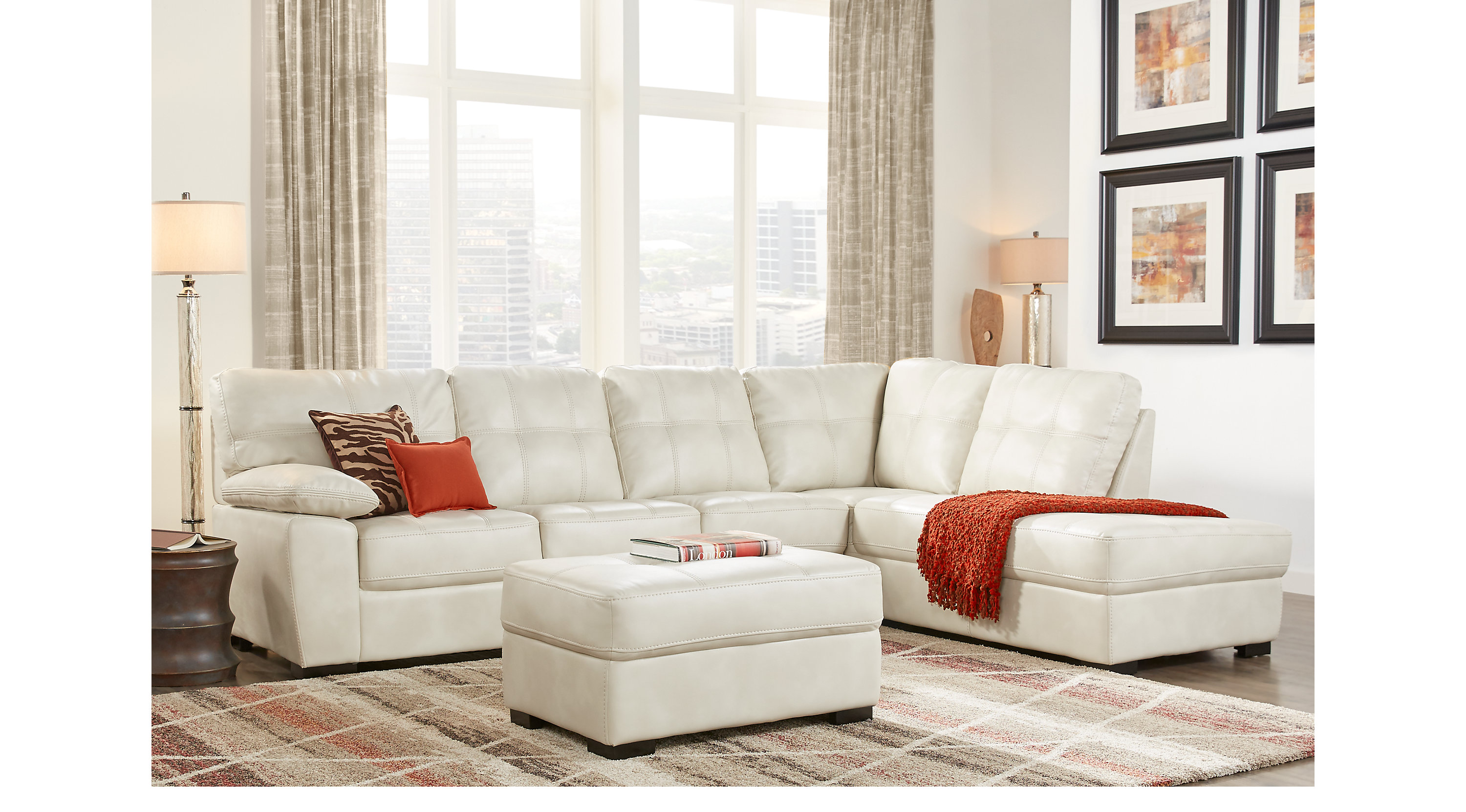 $1,075.00 - Bexley Square Cream 3 Pc Sectional Living Room ...