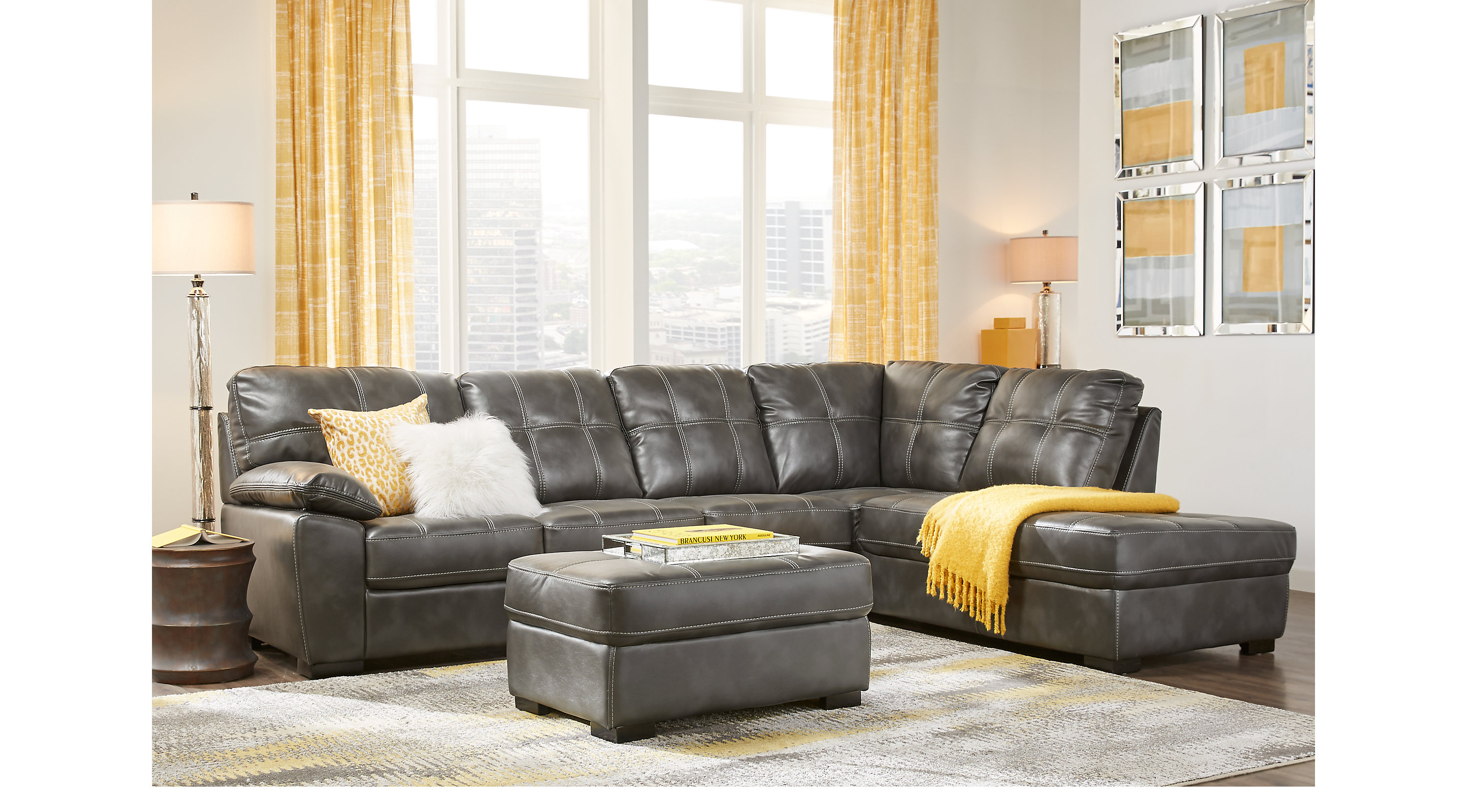 Bexley square slate 3 pc sectional living room sectional for Living sets for sale