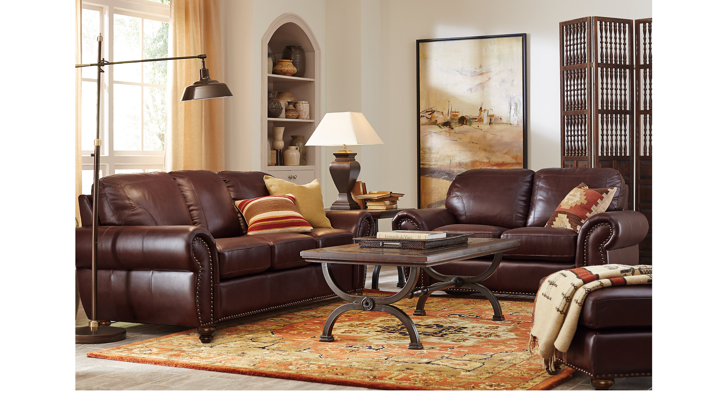 2 299 99 Brockett Brown Leather 3 Pc Living Room