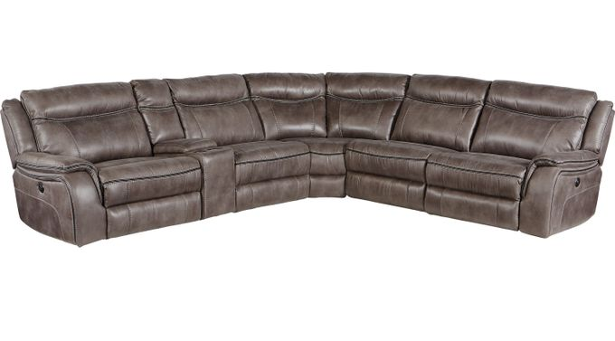 Barton Springs Gray 6 Pc Sectional - Reclining - Contemporary, Polyester
