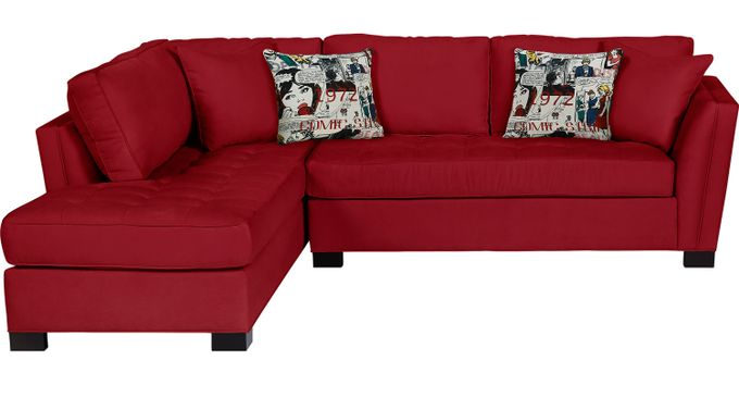 Calvin Heights Cardinal (red)  2 Pc Sectional - Contemporary, Microfiber