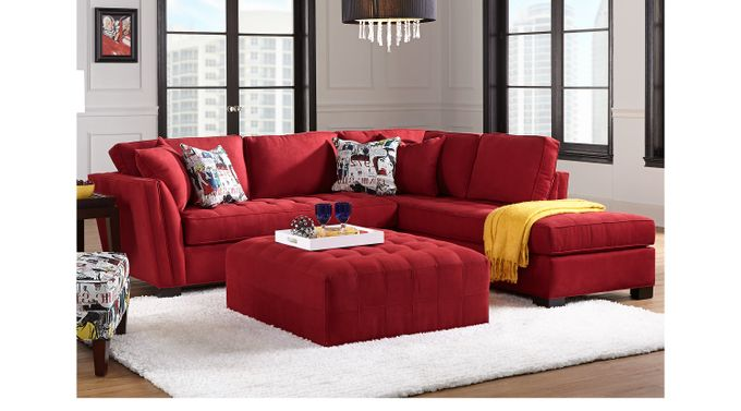 Calvin Heights Cardinal (red)  3 Pc Sectional Living Room - Contemporary, Microfiber