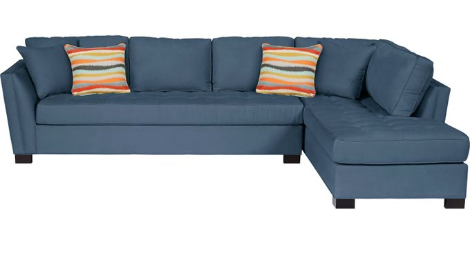 Calvin Heights XL Indigo 2 Pc Sectional - Contemporary, Microfiber