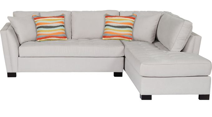 Calvin Heights Platinum (grayish white)  2 Pc Sectional (Right Facing) - Contemporary, Microfiber