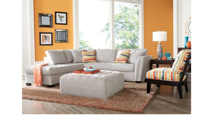 Calvin Heights Platinum (grayish white)  3 Pc Sectional Living Room - Contemporary, Microfiber