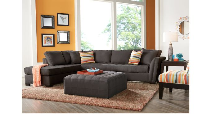 Calvin Heights XL Slate (gray)  3 Pc Sectional Living Room - Contemporary, Microfiber