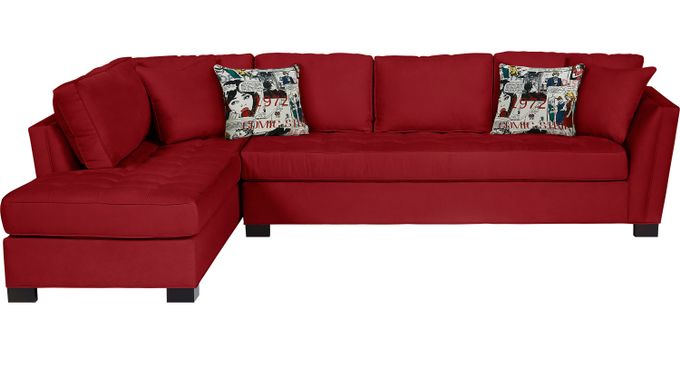 Calvin Heights XL Cardinal (red)  2 Pc Sectional (Left Facing) - Contemporary, Microfiber
